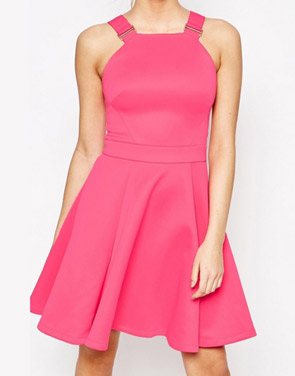 photo Zip Back Skater Dress with Buckle Straps by OASAP, color Fuchsia - Image 1
