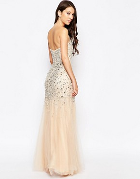 photo Ashley Roberts for Key Collections Precious Jewelled Maxi Dress, color Nude - Image 2