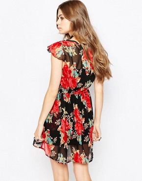 photo Tea Dress In Rose Print by Band of Gypsies, color Black Red - Image 2