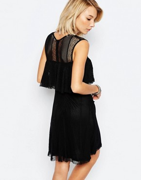 photo Bamako Layered Dress with Lace Overlay by Deby Debo, color Black - Image 2