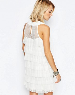 photo blanche Tiered Ruffle Dress by Deby Debo, color White - Image 2