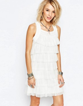 photo blanche Tiered Ruffle Dress by Deby Debo, color White - Image 1