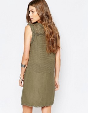 photo Faille Shift Dress with Fringed Neckline by Deby Debo, color Khaki - Image 2