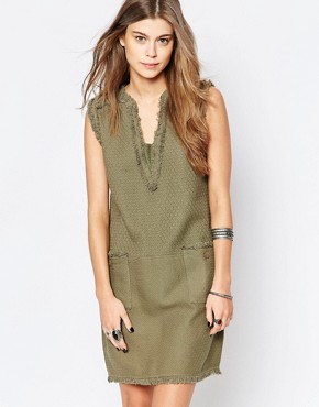 photo Faille Shift Dress with Fringed Neckline by Deby Debo, color Khaki - Image 1