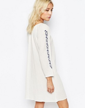 photo Boho Dress with Embroidered Detail by Diya, color White Blue - Image 2