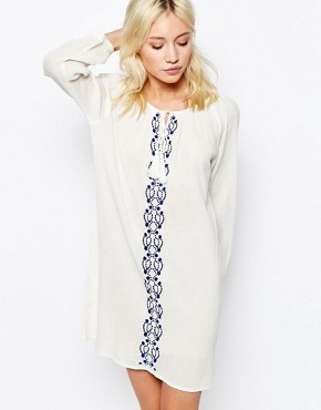 photo Boho Dress with Embroidered Detail by Diya, color White Blue - Image 1