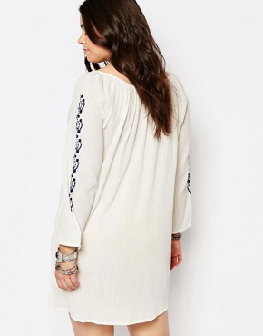 photo Boho Dress with Embroidered Detail by Diya Plus, color White Blue - Image 2