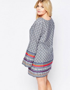 photo Shift Dress with Lace Up Front and Bell Sleeves by Diya Plus, color Blue Printed - Image 2