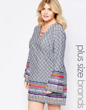 photo Shift Dress with Lace Up Front and Bell Sleeves by Diya Plus, color Blue Printed - Image 1