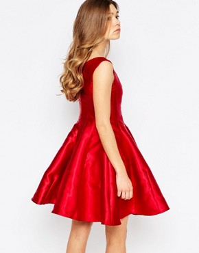 photo Aggie Plunge Skater Fit and Flare Dress by Girl In Mind, color Red - Image 2