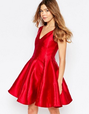 photo Aggie Plunge Skater Fit and Flare Dress by Girl In Mind, color Red - Image 1