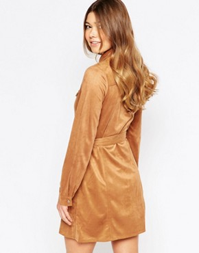 photo Faux Suede Button Front Long Sleeves Shirt Dress by Girl In Mind, color Tan - Image 2