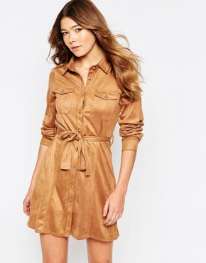 photo Faux Suede Button Front Long Sleeves Shirt Dress by Girl In Mind, color Tan - Image 1