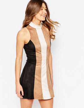 photo Faux Suede Patchwork Hi-Neck Shift Dress by Girl In Mind, color Tan - Image 1