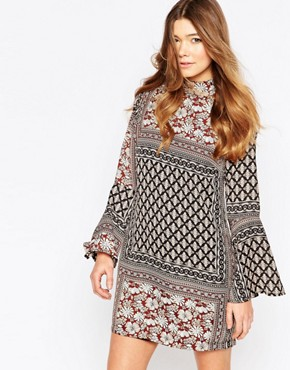 photo Gabriel Bell Sleeve Swing Dress by Girl In Mind, color Multi - Image 1