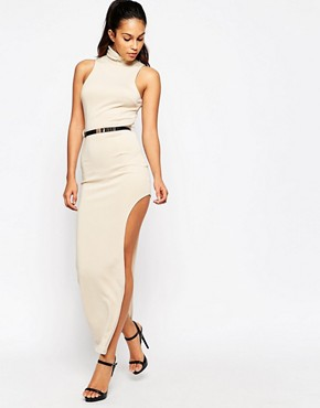 photo Maxi Dress with Thigh Split and Metal Belt by Girl in Mind, color Champagne - Image 1
