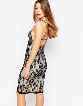 photo Natalie Mesh Panel Lace Midi Dress by Girl In Mind, color Black Cream - Image 2