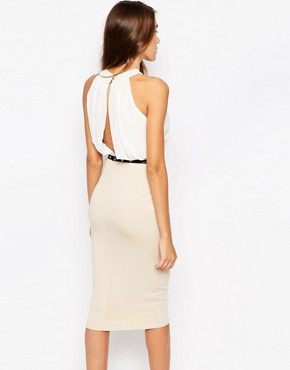 photo Pencil Dress with Keyhole Detail by Girl in Mind, color Cream Champagne - Image 2