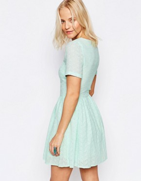 photo Broderie Skater Dress by Girls on Film, color Pale Blue - Image 2
