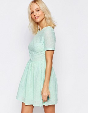 photo Broderie Skater Dress by Girls on Film, color Pale Blue - Image 1