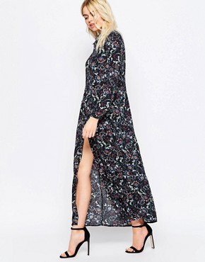 040c28dba94 Maxi Floral Shirt Dress by Girls on Film - Black