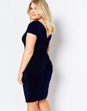 photo Dress with Ruched Detail by Goddiva Plus, color Navy - Image 2