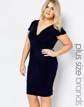 photo Dress with Ruched Detail by Goddiva Plus, color Navy - Image 1