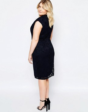 photo Lace Dress with Cut Out Neckline by Goddiva Plus, color Navy - Image 2
