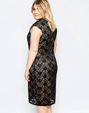 photo Lace Dress with Cut Out Neckline by Goddiva Plus, color Black Nude - Image 2