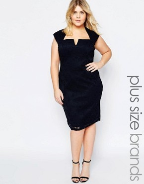 photo Lace Dress with Cut Out Neckline by Goddiva Plus, color Navy - Image 1