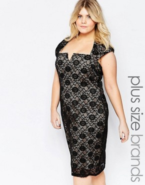 photo Lace Dress with Cut Out Neckline by Goddiva Plus, color Black Nude - Image 1