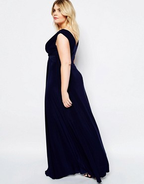 photo Maxi Dress with Knot Front by Goddiva Plus, color Navy - Image 2