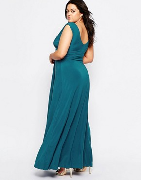 photo Maxi Dress with Knot Front by Goddiva Plus, color Teal - Image 2