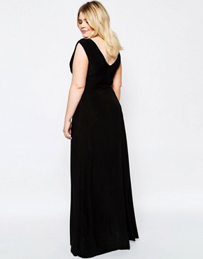 photo Maxi Dress with Knot Front by Goddiva Plus, color Black - Image 2