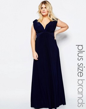 photo Maxi Dress with Knot Front by Goddiva Plus, color Navy - Image 1