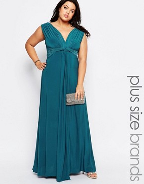 photo Maxi Dress with Knot Front by Goddiva Plus, color Teal - Image 1