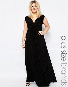 photo Maxi Dress with Knot Front by Goddiva Plus, color Black - Image 1