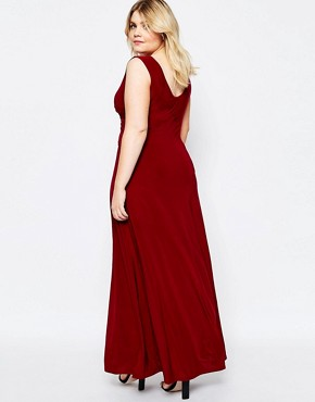 photo Maxi Dress with Wrap Front by Goddiva Plus, color Red - Image 2