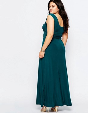 photo Maxi Dress with Wrap Front by Goddiva Plus, color Teal - Image 2