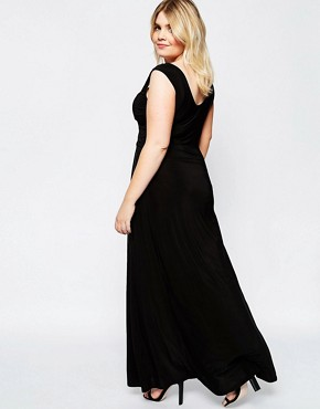 photo Maxi Dress with Wrap Front by Goddiva Plus, color Black - Image 2