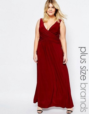 photo Maxi Dress with Wrap Front by Goddiva Plus, color Red - Image 1