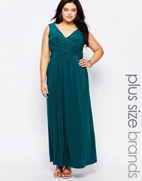 photo Maxi Dress with Wrap Front by Goddiva Plus, color Teal - Image 1