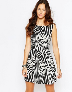 photo Harmony Dress with Open Back In Zebra Print by Goldie, color Zebra - Image 2