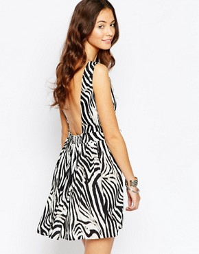 photo Harmony Dress with Open Back In Zebra Print by Goldie, color Zebra - Image 1