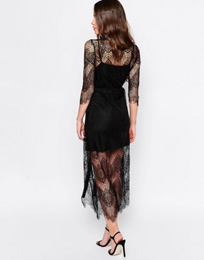 photo Karley Lace Dress with Slip by Goldie, color Black - Image 2