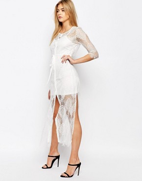 photo Karley Lace Dress with Slip by Goldie, color Ivory - Image 1