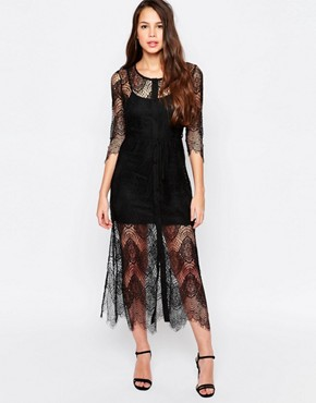 photo Karley Lace Dress with Slip by Goldie, color Black - Image 1