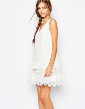 photo Brodie Crochet Trim Dress by Greylin, color White - Image 1
