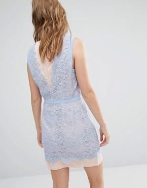 photo Lana Two Tone Lace Dress by Greylin, color Blue Periwinkle - Image 2