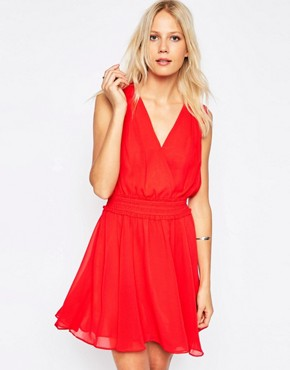 photo Odelle Cinched Waist Dress by Greylin, color Red Hibiscus - Image 1